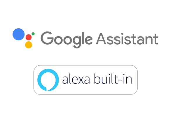 Logos de l'Assistant Google et d'Amazon Alexa